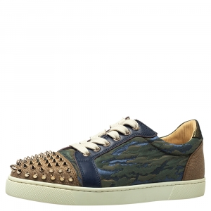 Christian Louboutin Multicolor Jacquard Fabric And Leather Vieira Spikes Low Top Sneakers Size 39