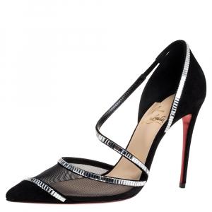 حذاء كعب عالى كريستيان لوبوتان زخرفة كريستال شيارا سويدى وشبك أسود مقاس 37