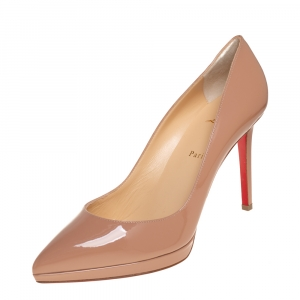Christian Louboutin Beige Patent Leather Pigalle Plato Pumps Size 42