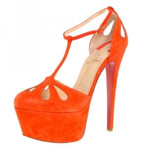 Christian Louboutin Orange Suede T-Strap Mayada Platform Sandals Size 36.5