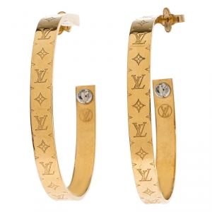 Louis Vuitton Gold Tone Nanogram Hoop Earrings