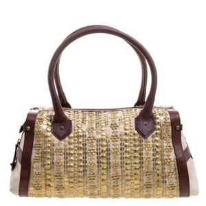 Christian Louboutin Beige/Brown Fabric and Leather Gold Disk Embellishment Satchel