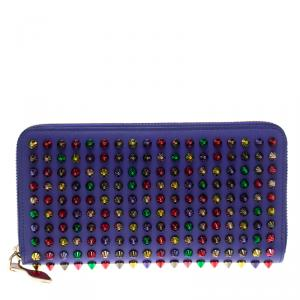 Christian Louboutin Blue Leather Multicolor Studded Spike Continental Wallet