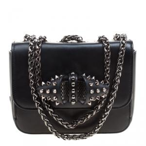 Christian Louboutin Black Leather Sweet Charity Loubi Bow Shoulder Bag
