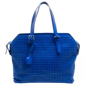 Christian Louboutin Blue Leather Syd Studded Shopper Tote