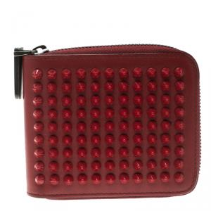 Christian Louboutin Red Leather Spiked Zip Around Wallet