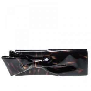 Christian Louboutin Metallic Patent Leather Bow Clutch