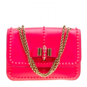 Christian Louboutin Neon Pink Matte Leather Small Rockstud Sweet Charity Shoulder Bag