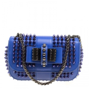 Christian Louboutin Blue Leather Mini Spiked Sweet Charity Crossbody Bag