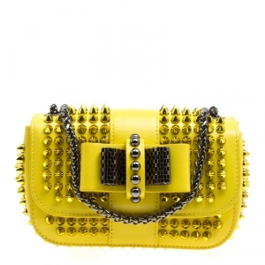 Christian Louboutin Yellow Leather Mini Spiked Sweet Charity Crossbody Bag