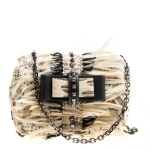 Christian Louboutin Multicolor Calfhair/Lizard and Feather Paradis Sweet Charity Bag