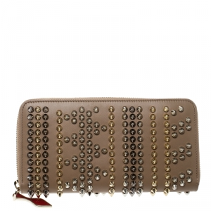 Christian Louboutin Beige Leather Spikes Panettone Zip Around Wallet