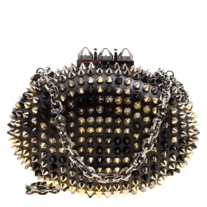 Christian Louboutin Black Leather Spikes Mina Clutch