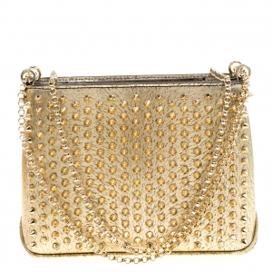 Christian Louboutin Gold Textured Leather Triloubi Chain Shoulder Bag