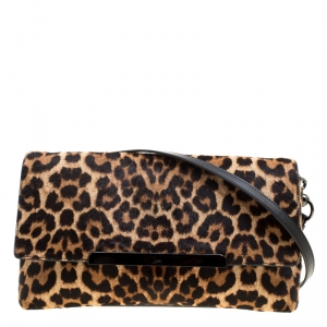 Christian Louboutin Beige/Black Leopard Print Calfhair and Leather Rougissime Crossbody Bag