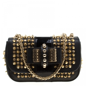 Christian Louboutin Black Leather Mini Spiked Sweet Charity Shoulder Bag