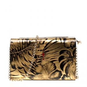 Christian Louboutin Gold/Black Floral Chain Clutch