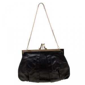 Christian Louboutin Black Metallic Leather Loubiday Clutch