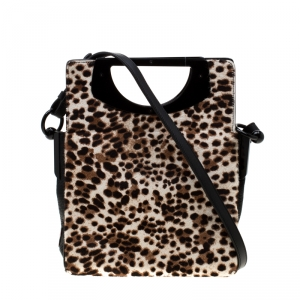 Christian Louboutin Beige/Black Leopard Print Calfhair and Leather Passage Shoulder Bag