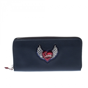 Christian Louboutin Navy Blue Winged Heart Leather Zip Around Wallet