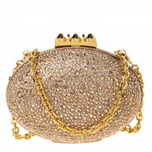 Christian Louboutin Beige Metallic Crystal Embellished Nubuck Leather Mina Chain Clutch