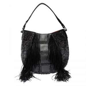 Christian Louboutin Black Spiked Leather Lucky L Fringe Hobo
