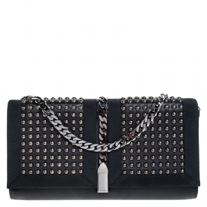 Christian Louboutin Black Leather Studded Chain Clutch
