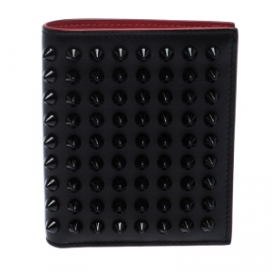 Christian Louboutin Black/Red Leather Clipsos Studded Bifold Wallet