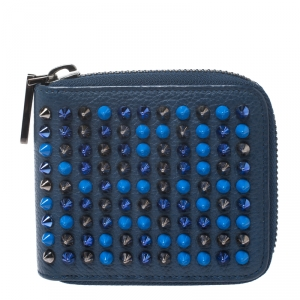 Christian Louboutin Blue Leather Spiked Zip Around Wallet