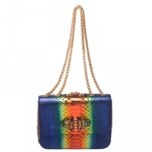 Christian Louboutin Multicolor Python Sweet Charity Loubi Bow Shoulder Bag