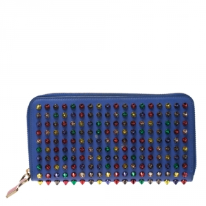 Christian Louboutin Blue Leather Panettone Spikes  Zip Around Wallet