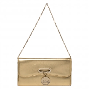 Christian Louboutin Metallic Gold Leather Riviera Chain Clutch