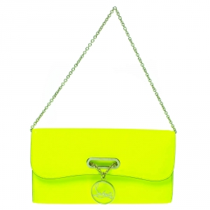 Christian Louboutin Neon Green Leather Riviera Clutch Bag
