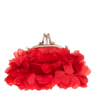 Christian Louboutin Red Satin Mount Street Chain Clutch