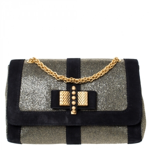 Christian Louboutin Black/Gold Suede and Glitter Lame Fabric Sweet Charity  Shoulder Bag