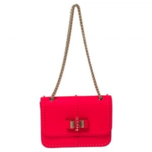 Christian Louboutin Neon Pink Leather Sweet Charity Shoulder Bag