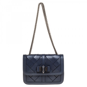 Christian Louboutin Navy Blue Woven Leather Sweet Charity Shoulder Bag