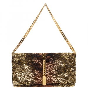 Christian Louboutin Gold Ombre Sequins Catalina Chain Clutch