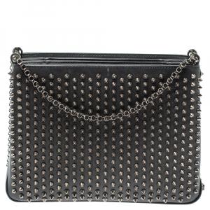 Christian Louboutin Black Leather Large Triloubi Spiked Shoulder Bag