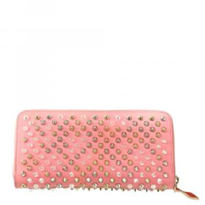 Christian Louboutin Pink Leather Studded Zip around Long Wallet