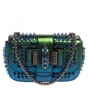 Christian Louboutin Metallic Blue/Green Patent Leather Mini Spiked Sweet Charity Crossbody Bag