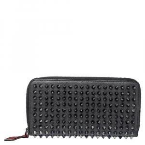 Christian Louboutin Grey Leather Panettone Spikes Zip Around Wallet