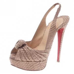 Christian Louboutin Beige Python Jenny Platform Slingback Sandals Size 35.5