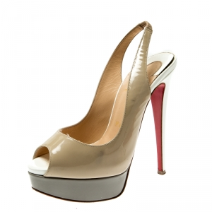 Christian Louboutin Tricolor Patent Leather Private Number Peep Toe Slingback Sandals Size 35.5 - used