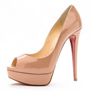 Christian Louboutin Nude Patent Lady Peep Toe 150mm Platform Pumps Size 38