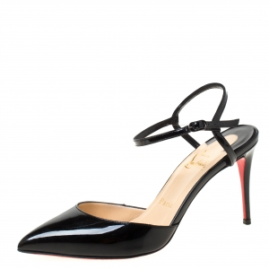 Christian Louboutin Black Patent Leather Rivierina Ankle Strap Sandals Size 36.5 - used