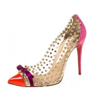 حذاء كعب عالي كريستيان لوبوتان بيله إيه بوله بفيونكة مرصع متعدد الألوان PVC مقاس 38.5