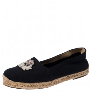 Christian Louboutin Navy Blue Canvas Gala Embroidered Crest Espadrille Loafers Size 39 - used