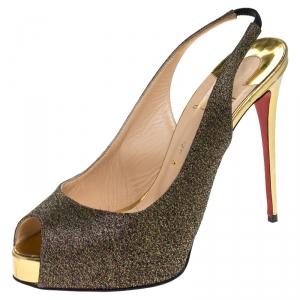 Christian Louboutin Multicolor Woven Fabric Peep Toe Slingback Sandals Size 37.5 - used
