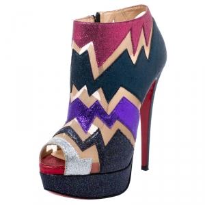 Christian Louboutin Mutlicolor Glitter Ziggy Peep Toe Ankle Booties Size 36 - used